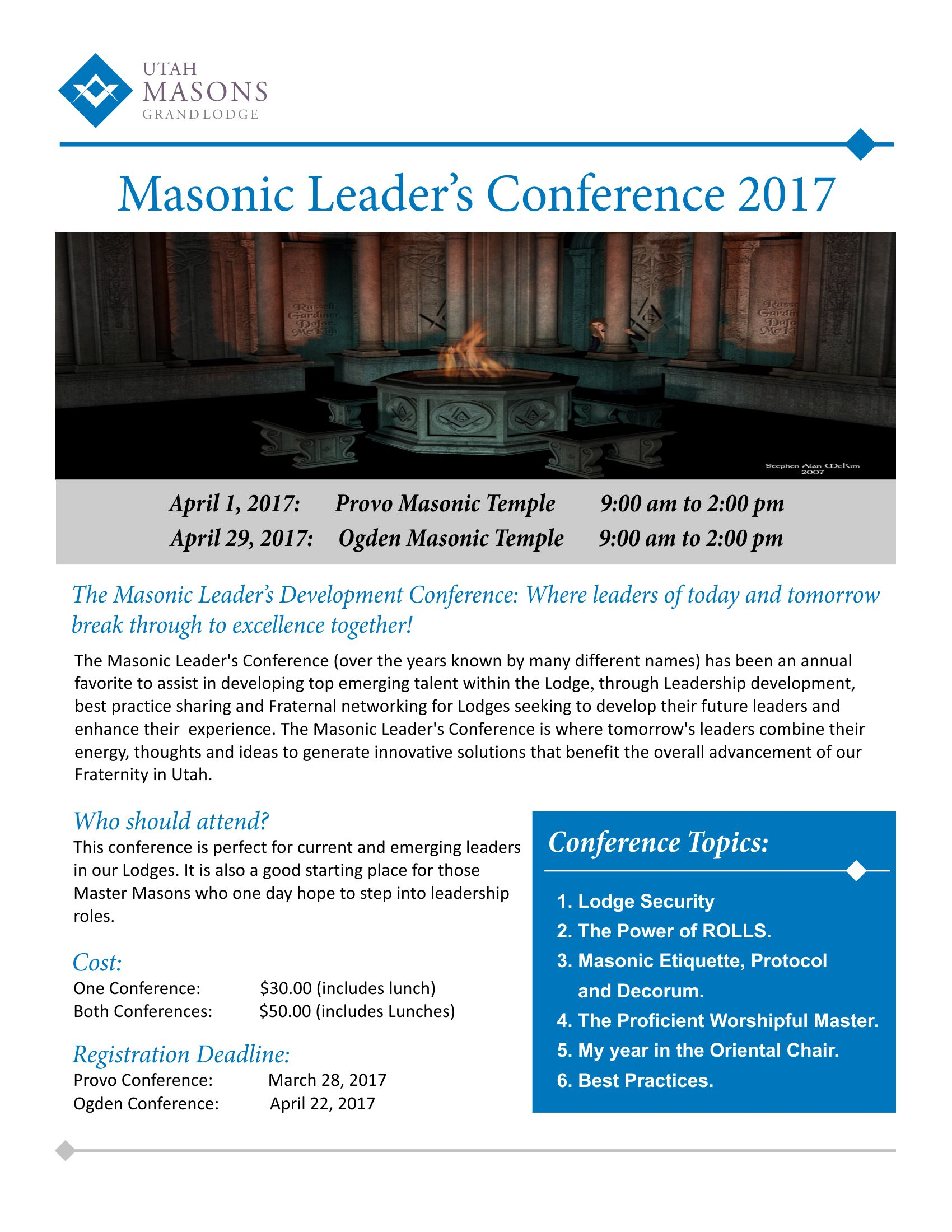 Masonic Leader's Conference 2017 Online Registration